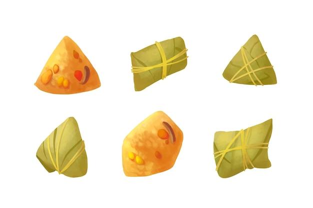 Набор zongzi для лодок-драконов Бесплатные векторы