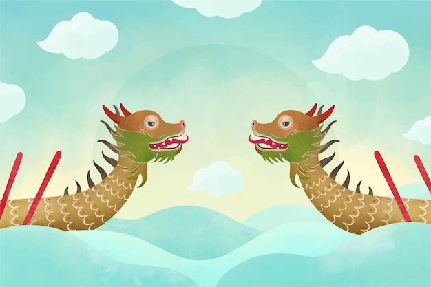 Акварель лодка дракона обои Бесплатные векторы