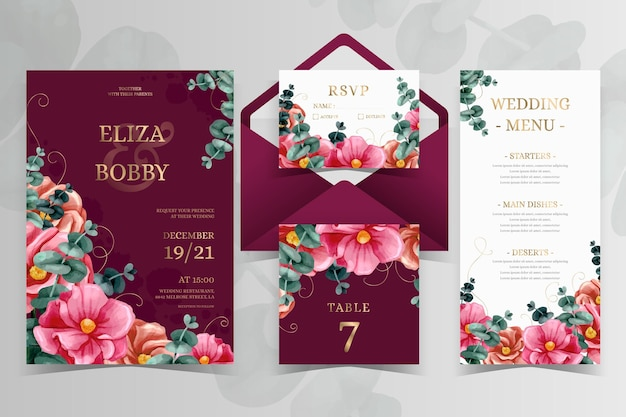 Watercolor dramatic botanical wedding stationery Free Vector