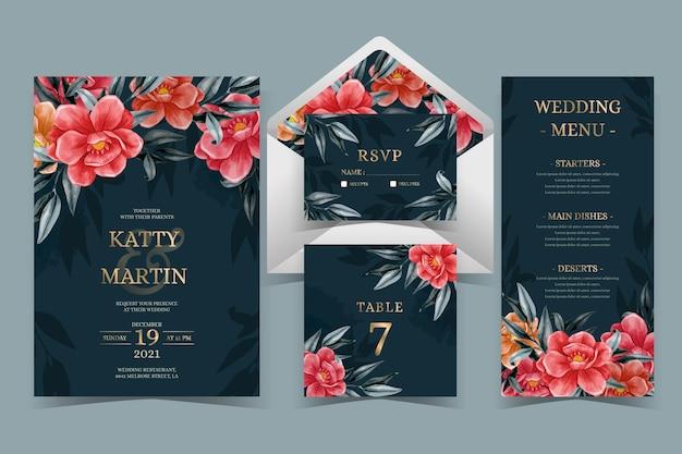 Акварельные драматические ботанические свадебные канцелярские товары Бесплатные векторы