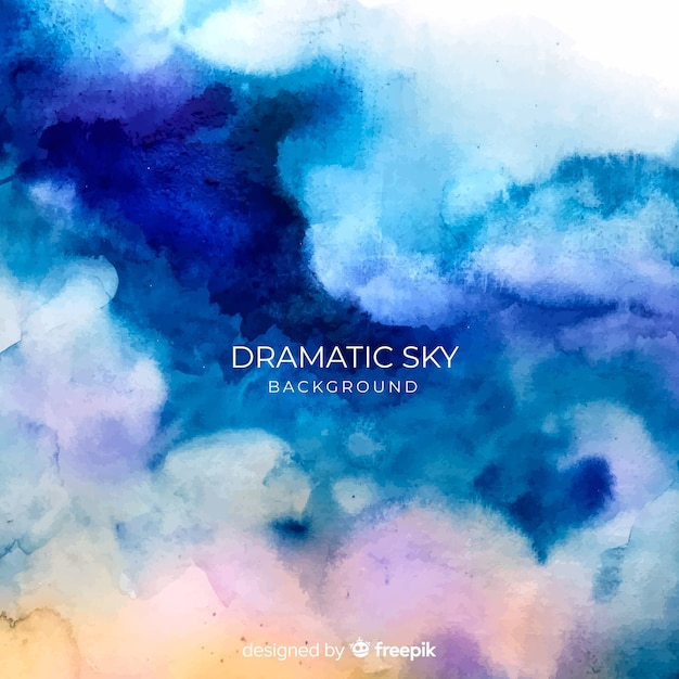 Watercolor dramatic sky background Free Vector