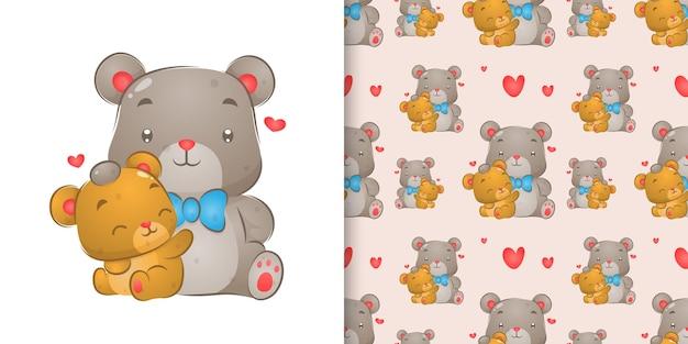 Акварельный рисунок медведя, касающегося головы маленького медведя на иллюстрации набора шаблонов Premium векторы