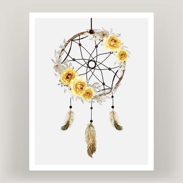 Акварель ловец снов роза желтый цветок перо Бесплатные векторы