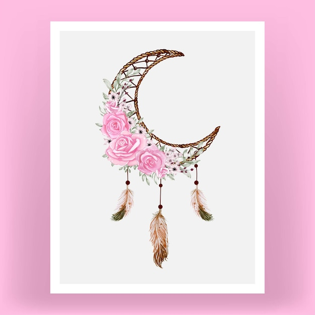 Watercolor dream catcher with rose flowers and feather Free Vector