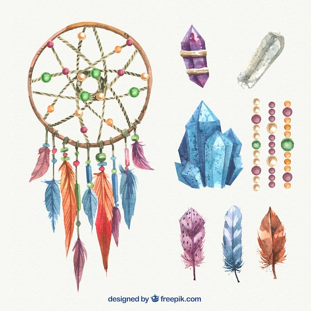 Watercolor Dreamcatcher With Gems Vector Free Download Awesome Water Color Dream Catcher