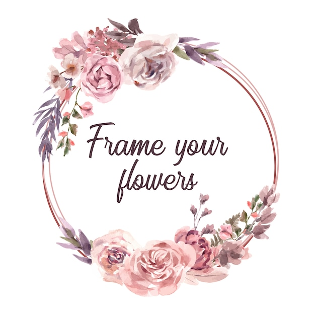 Watercolor dried floral wreath frame Free Vector
