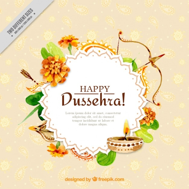 Watercolor dussehra background with ornamental elements Free Vector