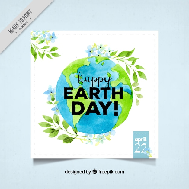 Watercolor earth day greeting Free Vector