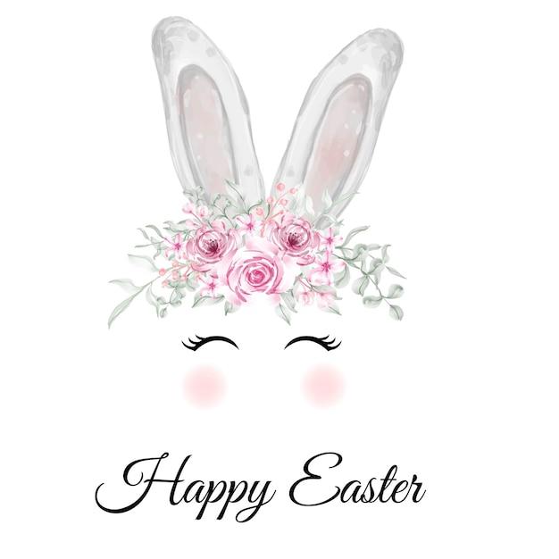 Orecchie del coniglietto di pasqua dell'acquerello con corona di fiori rosa Vettore gratuito