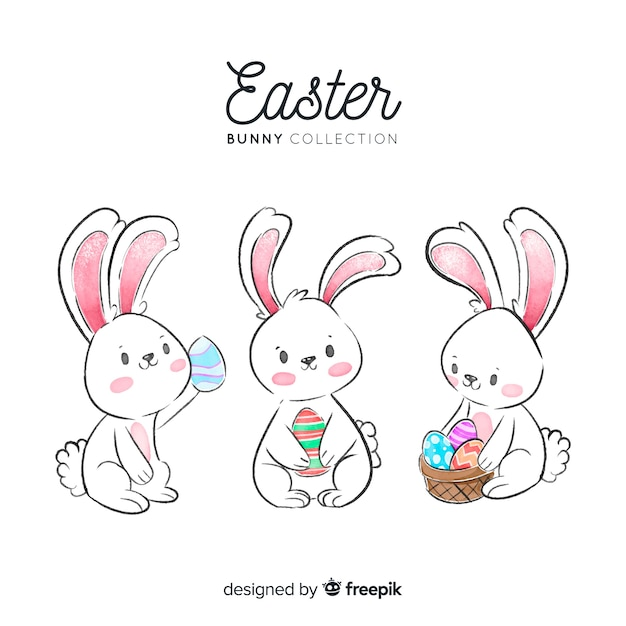 Watercolor easter day bunny collection Free Vector