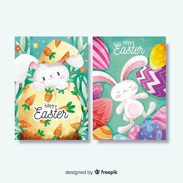 Watercolor easter day card collection Free Vector
