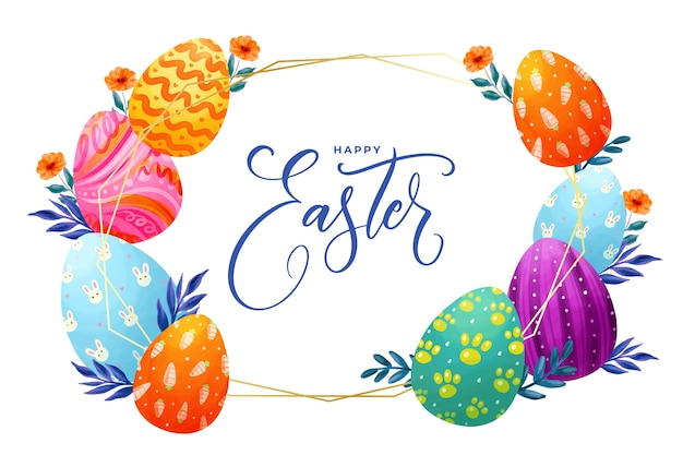 Watercolor easter day image Free Vector