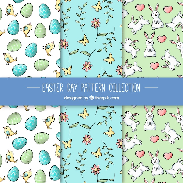 Watercolor easter day pattern collection Free Vector