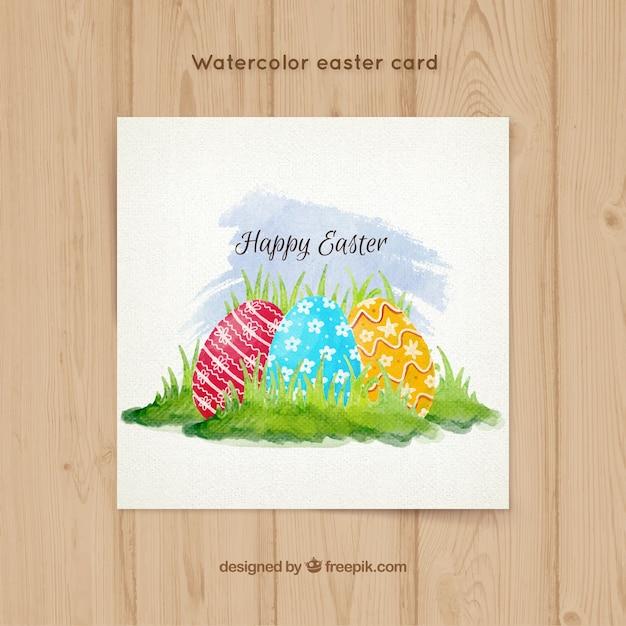 Watercolor Easter greeting card