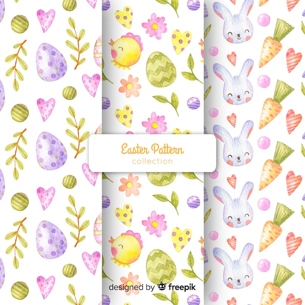 Watercolor easter pattern collection Free Vector