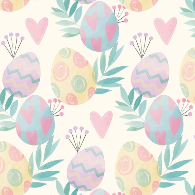 卵と葉の水彩イースターパターン 無料ベクター