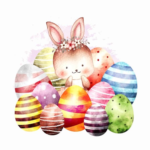 卵と水彩イースターウサギ Premiumベクター