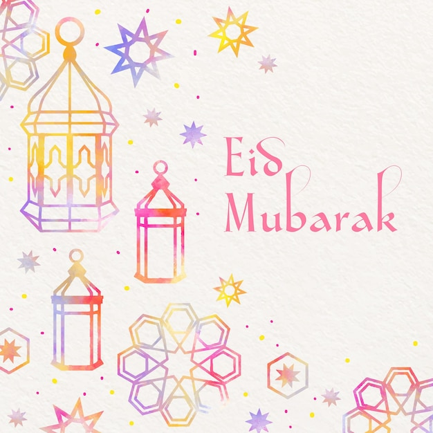 Free Vector Watercolor Eid Mubarak With Lanterns And Stars