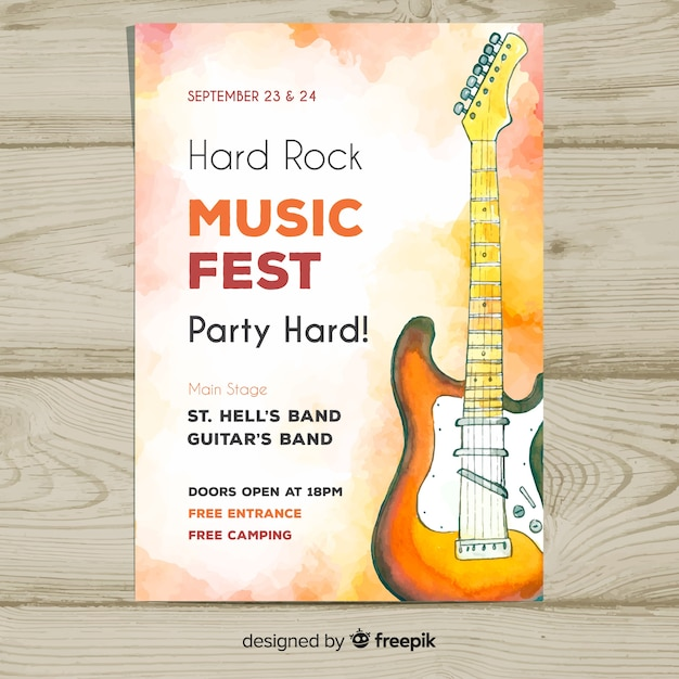 Watercolor electric guitar music festival poster Free Vector