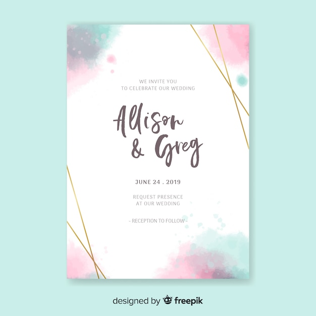 Watercolor Elegant Invitation Card Template Vector Free