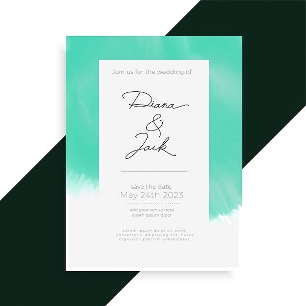 Watercolor Elegant Wedding Invitation Card Template Vector Free