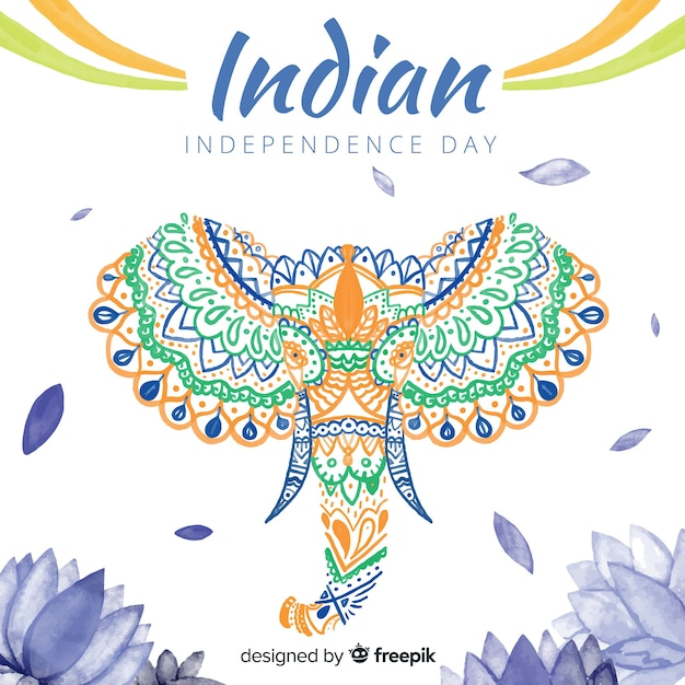 Watercolor elephant india independence day background Free Vector