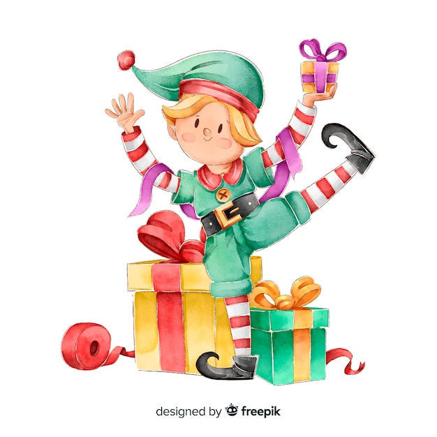 Watercolor elf christmas characters collection Free Vector