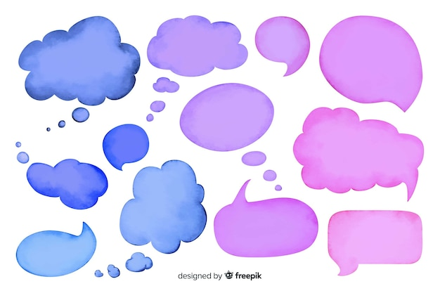 Watercolor empty speech bubble collection Free Vector