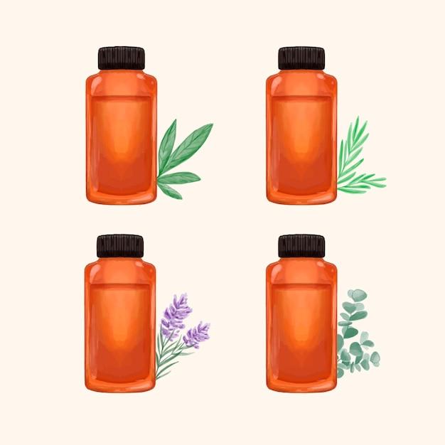 Collezione di bottiglie di olio essenziale dell'acquerello Vettore gratuito