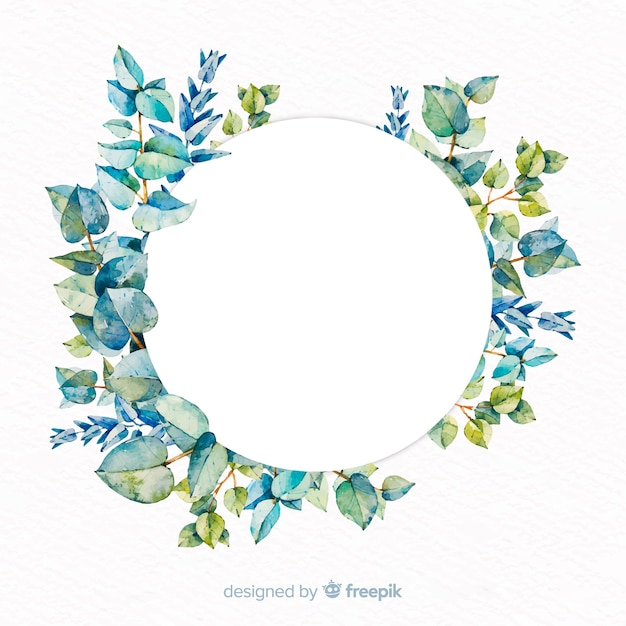 Watercolor eucalyptus banner with blank banner Free Vector