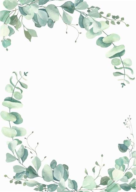 Watercolor eucalyptus leaves frame. Premium Vector