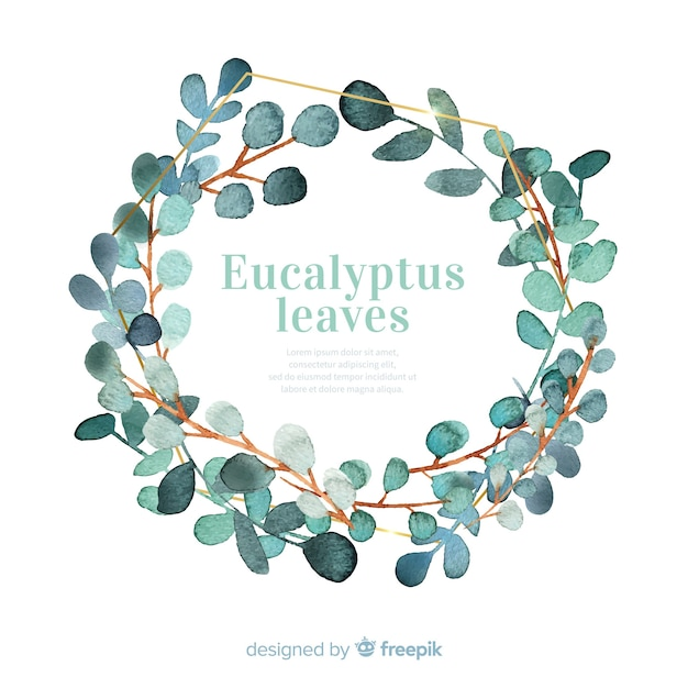 Watercolor eucalyptus leaves wreath Free Vector