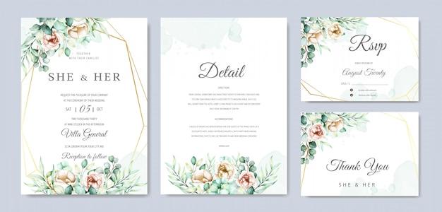 Watercolor eucalyptus wedding invitation card set Free Vector