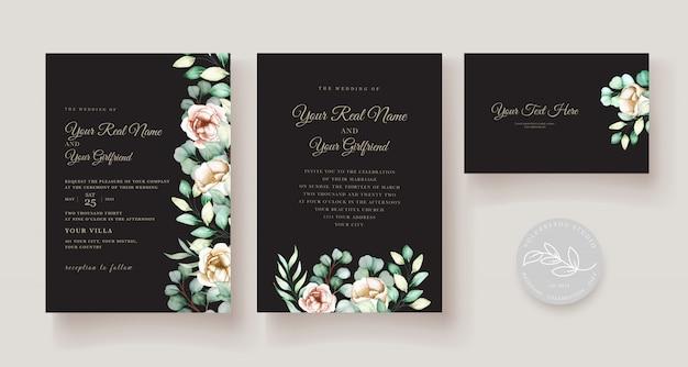 Watercolor eucalyptus wedding invitation card set Premium Vector