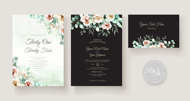 Watercolor eucalyptus wedding invitation card set Free Vector