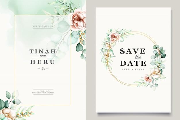 Watercolor eucalyptus wedding invitation card template Free Vector