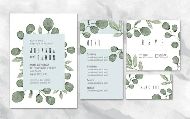 Watercolor eucalyptus wedding stationery Free Vector