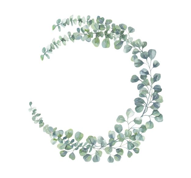 Watercolor eucalyptus wreath. Premium Vector