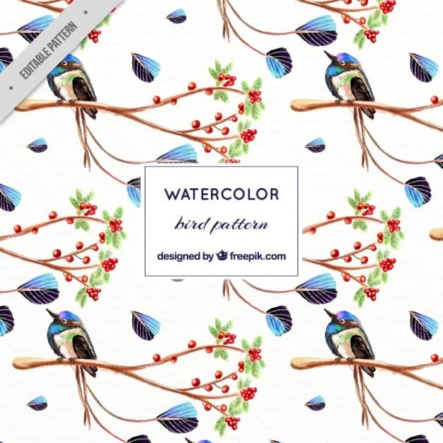 watercolor exotic and cute bird pattern vector premium download