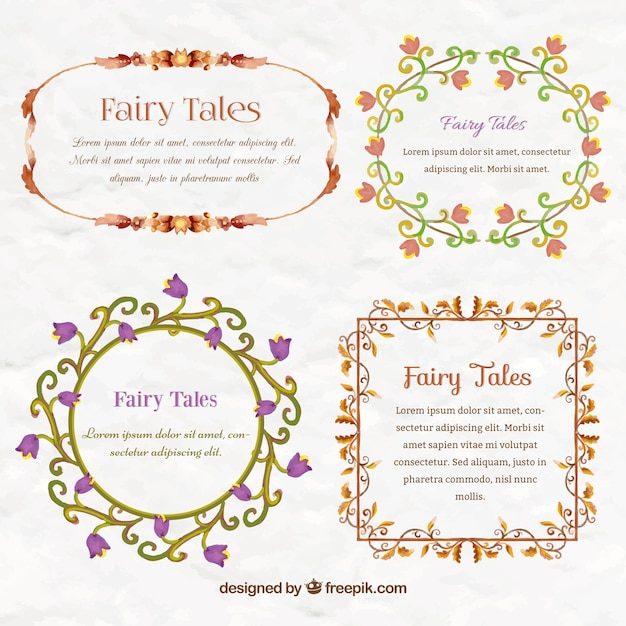 Watercolor fairy tale frames Free Vector