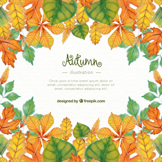 watercolor fall leaves background with template vector free download
