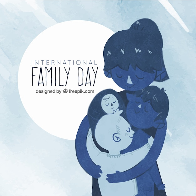 Watercolor family day background in blue\ tones