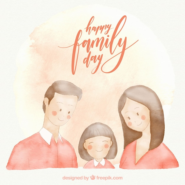 Watercolor family day card