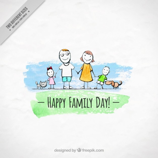 Watercolor family with pets background