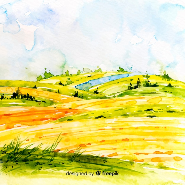 Watercolor farm landscape background Free Vector