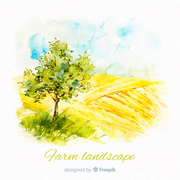 Watercolor farm landscape background Free Vector