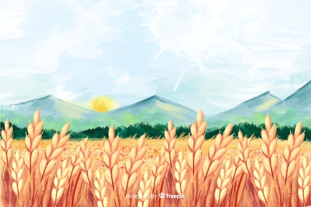 Watercolor farm landscape Free Vector