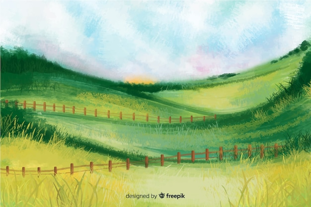 Watercolor farm landscape Premium Vector