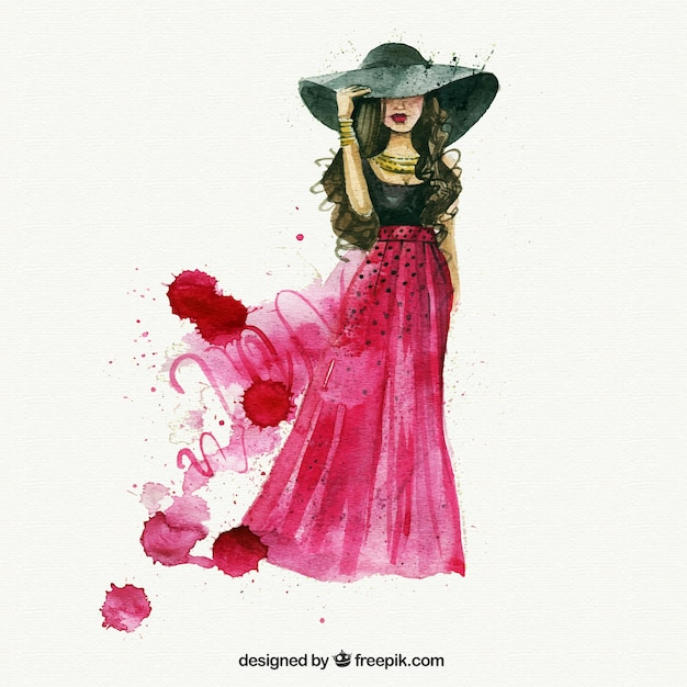 Watercolor Fashion Woman Vector Premium Download