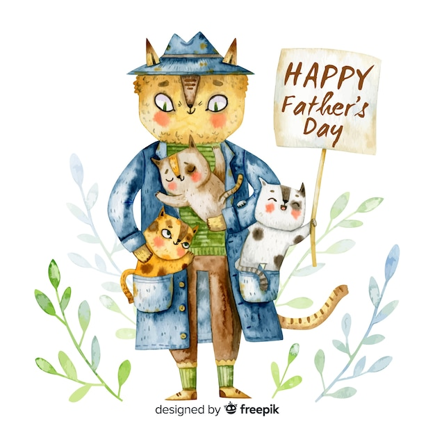 Watercolor father's day background Free Vector